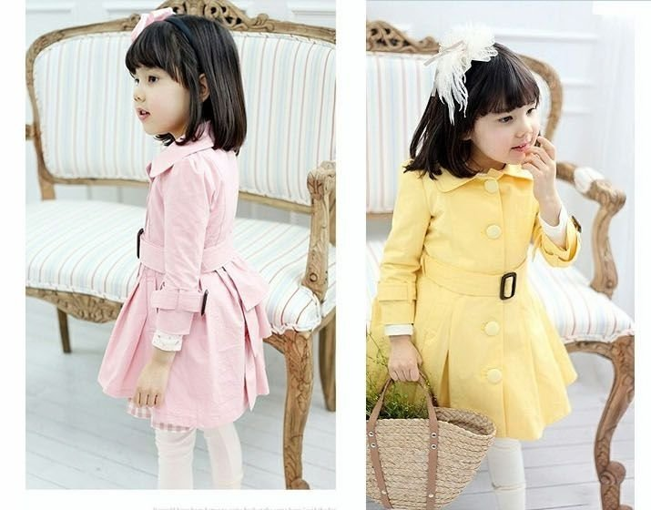 Free shipping wholesale high qulity  baby princess long coat girl's windbreaker in 5sizes 2colors(90-130cm tall)