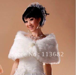 Free Shipping Wholesale Ivory Faux Fur Wedding dress Wedding Accessories Shawl Wrap Jacket Coat