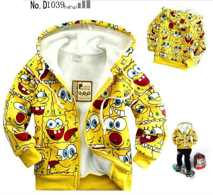 Free Shipping Wholesale Kids spongebob girls sweater T-shirt terry cotton long-sleeved jacket 6pcs/lot CS64