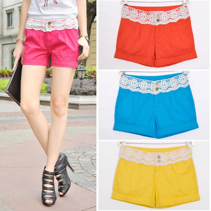 Free Shipping Wholesale Ladies Fashion Stitching Lace Candy Colored Shorts Women, Lace Shorts Pants S/M/L/XL BK1921SK