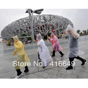 Free Shipping wholesale multi colors Men and women lightweight disposable raincoat