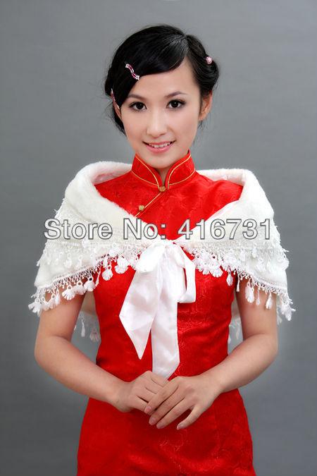 Free Shipping Wholesale New ivory Wedding Dress Faux Fur Wrap Coat Bridal Shawl Accessories WW13012001