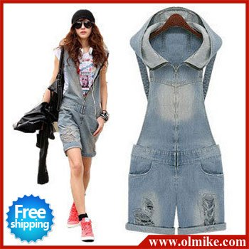 free shipping wholesale price 2012 ladies' designer denim set pants summer short pants jean overalls women blue S M L XL WJ012