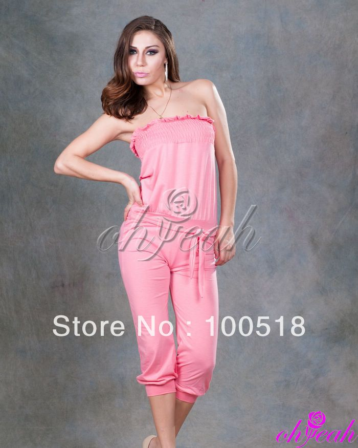 Free Shipping--Wholesale price Off-shoulder fashion pink wear high quality jumpsuits R73274