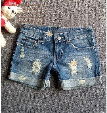 Free Shipping [Wholesale&Retail]Summer Lady Denim Shorts Women's Jeans Shorts Pants Hole Roll-Up Hem DK006