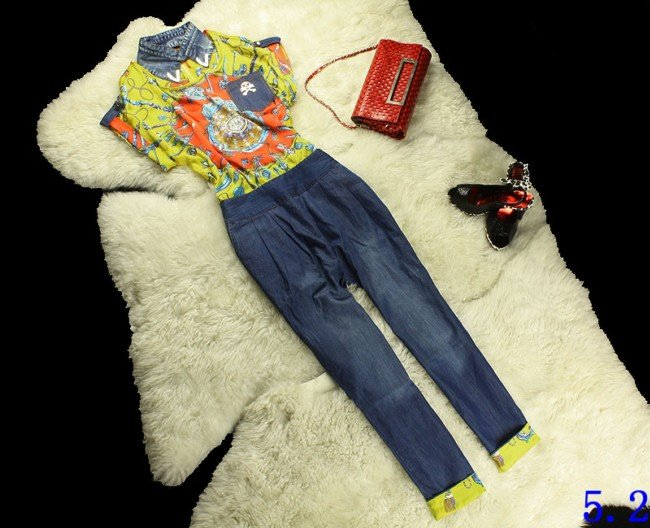 Free shipping wholesale retail top quality hotsale spring summer women silk floral printed plus denim fashion rompers