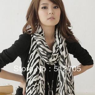 Free Shipping Wholesale Scarf Chiffon Shawl Best Selling Women Fashion Scarf Zebra Print Long Muffler Silk Touch Scarf