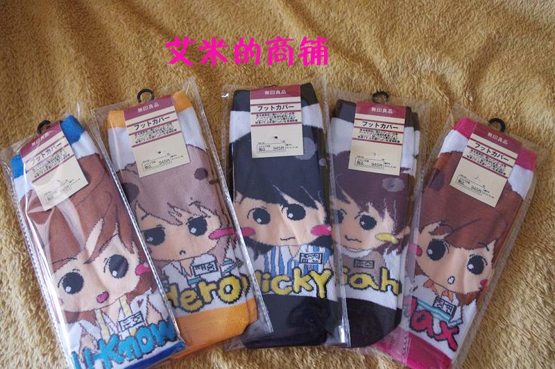 Free shipping, wholesale Tvxq 100% cotton cartoon socks kpop fashion k-pop cartoon Korea artists  Jun Su have been sold out