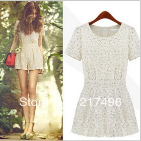 Free shipping Wholesale Women 2013 new hollow sweet lace round neck folds fashion Slim Dress Rompers beige color S/M/L/XL