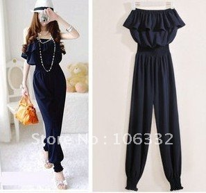Free Shipping wholesale women frilled top+long pants Empire waist Navyblue jumper backless sexy overall casual romper