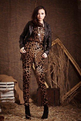 free shipping Wholesale - women's loose fit pant leopard jumper suit  hot sale