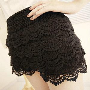 Free Shipping Wholesale Women's Multi-layer Lace Crochet Shorts Sexy Safety Skirt Pants Fashion Leggings