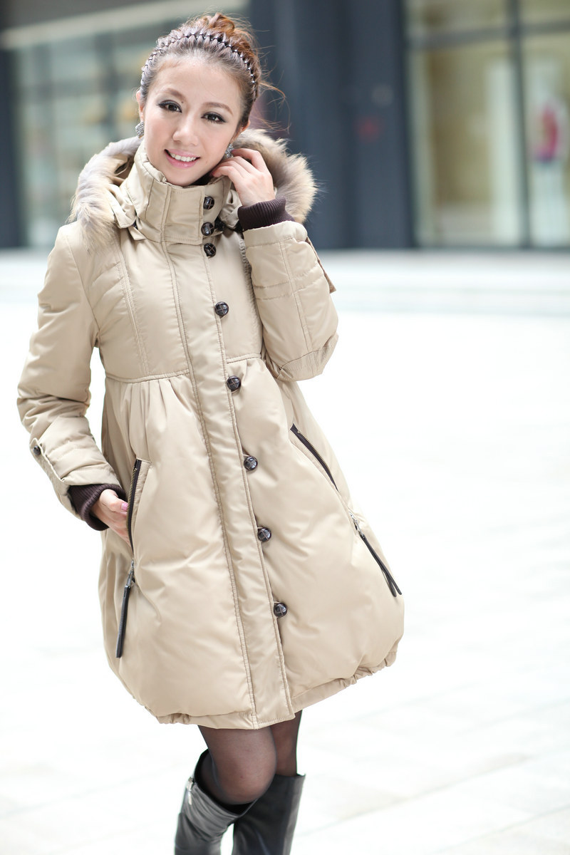free shipping Winter thickening medium-long with a hood cute shirt down coat outerwear maternity clothing