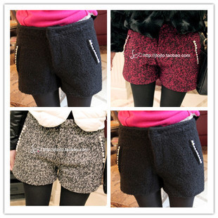 Free Shipping winter woolen pocket beading decoration woolen shorts Fashion Boot Pants Legging(Black+Red+Gray+M/L)121221#9