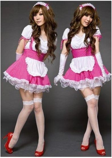 Free Shipping Woman's Ladie's Women's Sexy Christmas New Year Fancy Maid Lolita Princess Dress Suit Costume SZ M