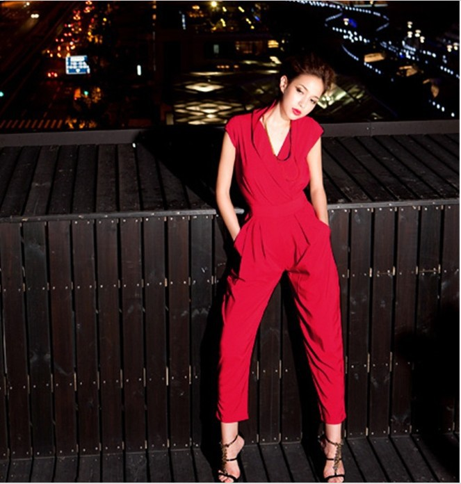 Free shipping women 2013 jumpsuit coveralls pocket  trousers & women's V-neck black clothing red elastic jumpsuits