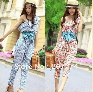 FREE SHIPPING  women Asian floral jumpersuit frilled one shoulder romper blue/pink hot sale  mix order