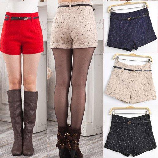 Free Shipping Women Autumn / Winter Woolen Short pants Fashion polka dot high waist shorts with belt S2478 Size S M L 4 colors