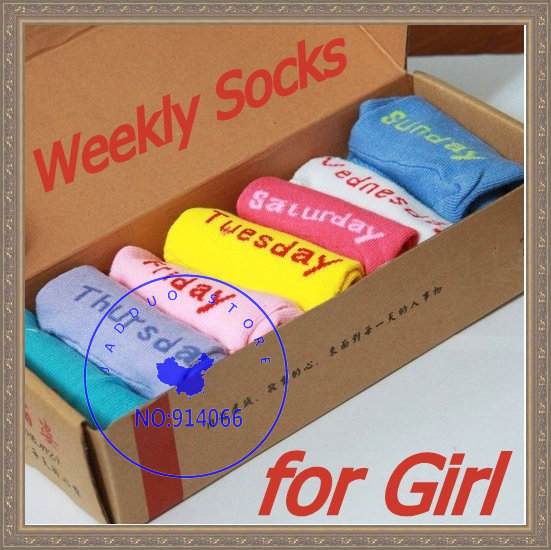 Free shipping Women cotton sports sock Novelty 7 days week Socks comfortable soft daily sock changing everyday warm product