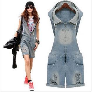 Free Shipping Women Denim Jumpsuits Fashion Holes Overall Shorts Casual Wear Short Shorts DK-017