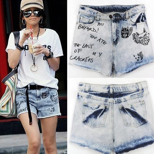 Free shipping women denim shorts wahsed destroyed short pants Beach shorts