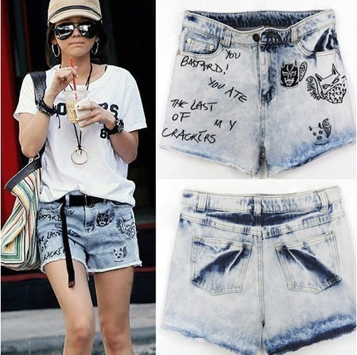 Free shipping women denim shorts wahsed destroyed short pants Beach shorts on sale