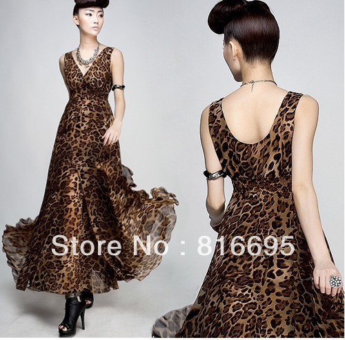 Free shipping women'dress put on a large chiffon v-neck vest leopard dress wrapped chest skirt flounced skirt