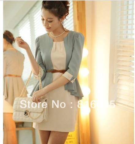 Free shipping women'dress The false two ladies OL Slim chiffon fifth Sleeve Dress