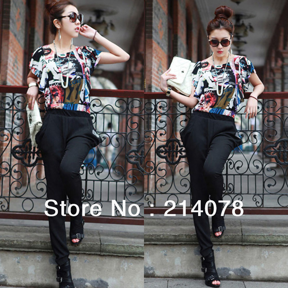 Free shipping women elastic loose print jumpsuits female fashion rompers harem pants + shirt