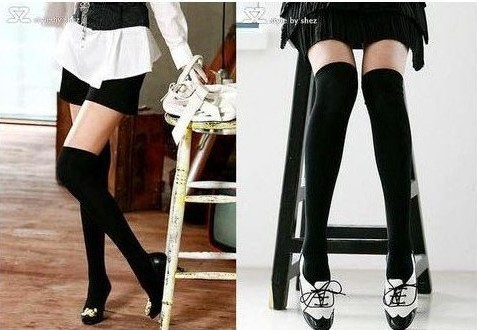 Free Shipping Women Fashion Over The Knee Socks Thigh High Sexy Cotton Stocking Thinner Black