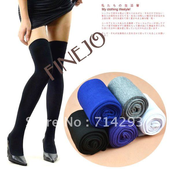 Free Shipping Women Fashion Over The Knee Socks Thigh High Sexy Cotton Stockings Thinner 5 Colors Free Shipping 3226