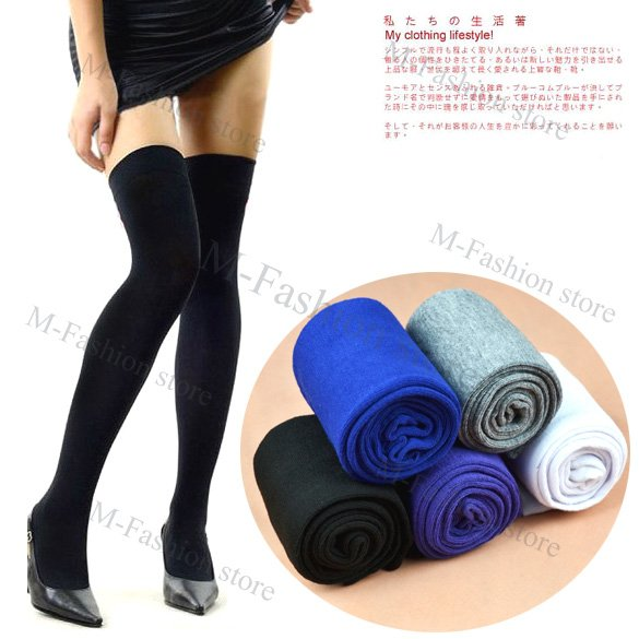 Free Shipping Women Fashion Over The Knee Socks Thigh High Sexy Cotton Stockings Thinner 5 Colors Free Shipping