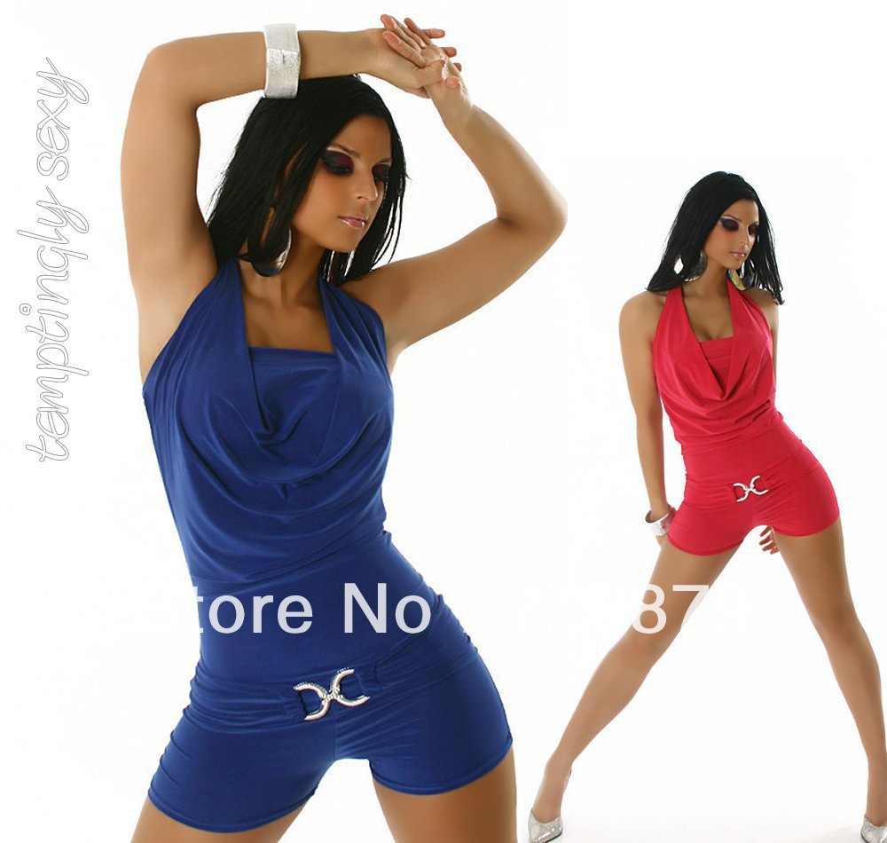 Free shipping Women Fashion Sleeveless Tunic Romper Strap Short Jumpsuit Scoop Adult Overall apparel