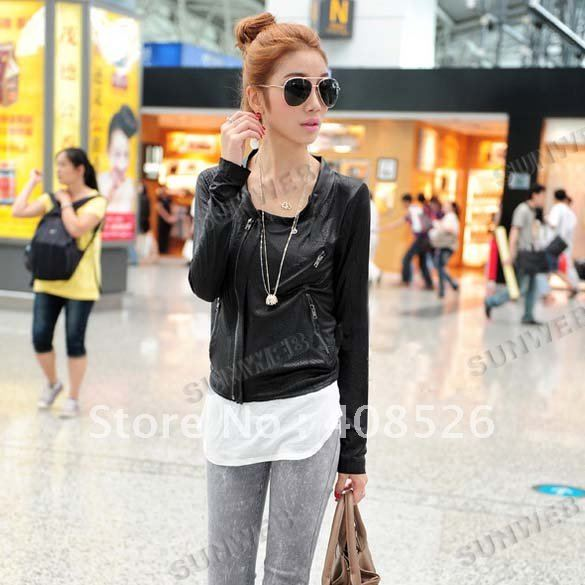 free shipping women faux leather Blazer Thin Soft Jacket cropped PU leather jacket (Drop Shipping Support!) Black 5902