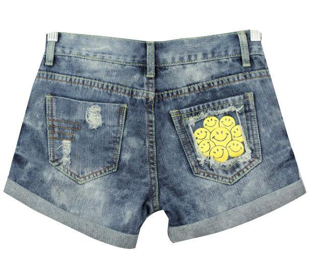 Free shipping,Women happy face Short Jeans,Lady Wash Denim High-waist Shorts A0011