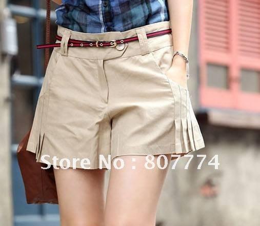 FREE SHIPPING women hot short skirt pants good quality pleated shorts hot skirt Pants With Belt beige,black S/M/L/XL