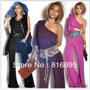 Free shipping   women'jumpsuit The new The shoulder strapless oblique wide leg jumpsuit straight jumpsuit