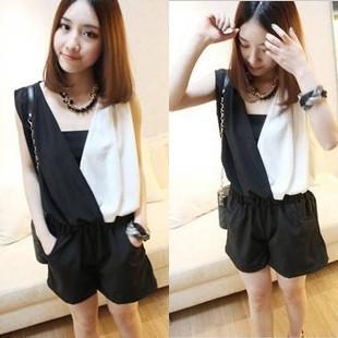 Free shipping Women Korean version Siamese shorts  Strapless black and white chiffon jumpsuit pants coveralls Female