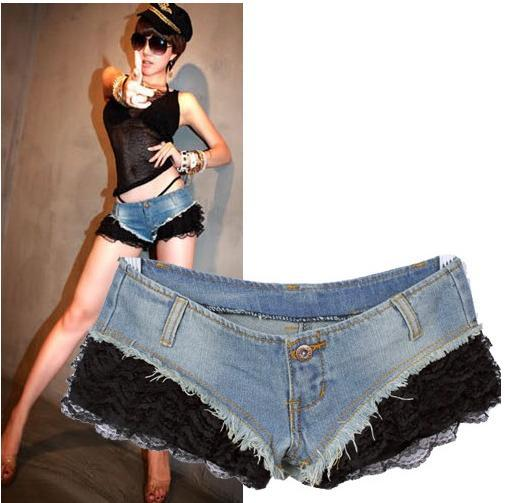 Free shipping,Women lace Short Jeans,Fashion Wornout Hot Pants,Lady Wash Denim High-waist Shorts