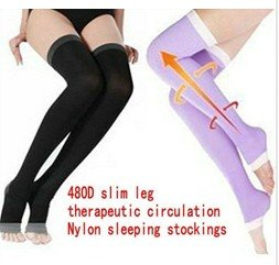 Free Shipping Women Pressing Leggings Sleep Slimming Stockings Varicose Tight Socks, beauty Leg slim warmer Shaper black purple