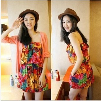 Free Shipping Women's 2013  Fashion Jumpsuit Summer Trousers Flower Shorts Tube Top Female Rompers Womens Jumpsuit