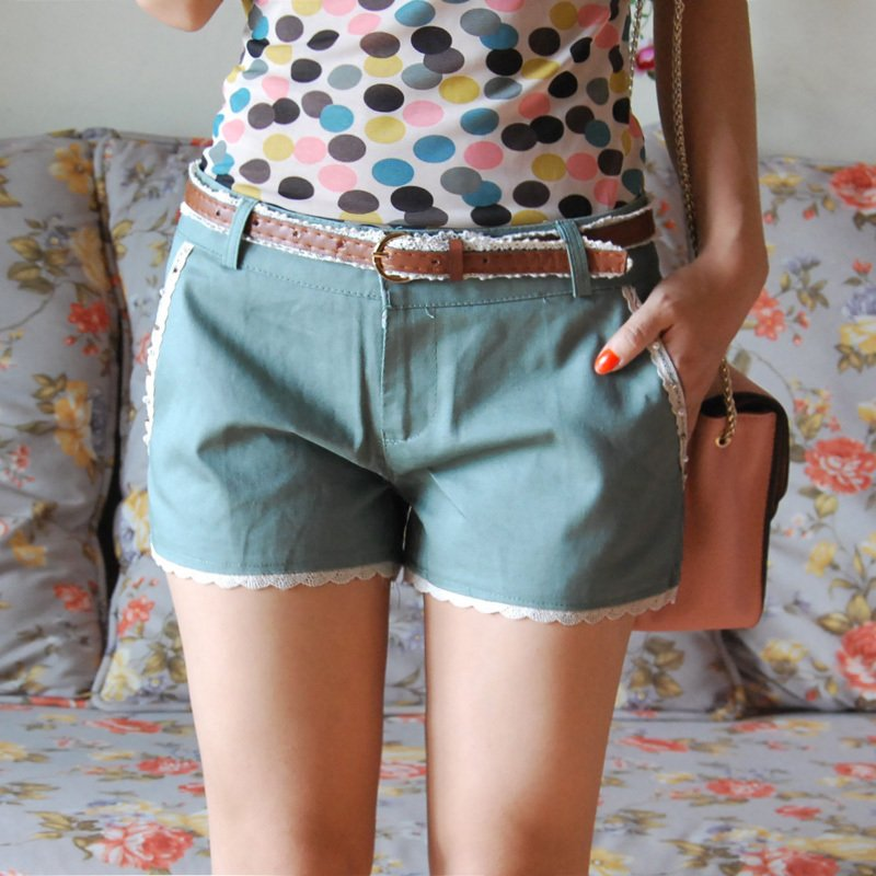 free shipping  women's candy color vintage pearl lace casual shorts