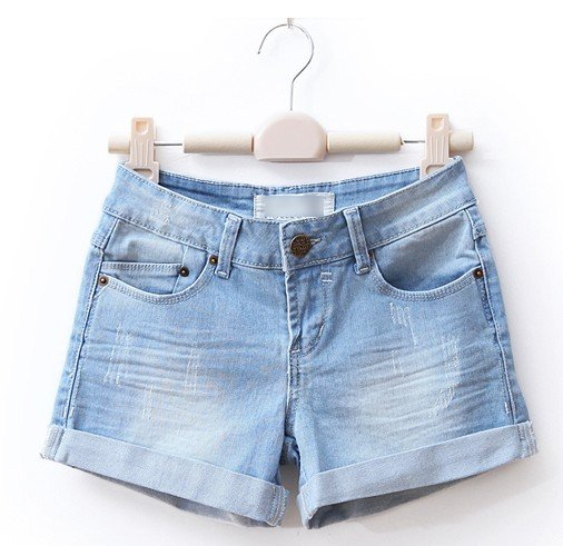 Free shipping women's Denim ripped casual jeans shorts cotton washed Very Show Thin 3 Colors T054