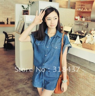 FREE SHIPPING Women's  Fashion Loose Denim  Jumpsuit, 2012