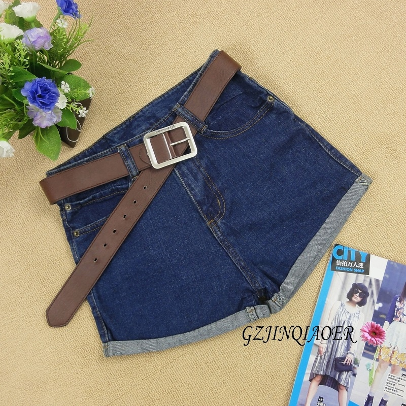 Free Shipping Women's high waist shorts summer female plus size loose shorts vintage denim
