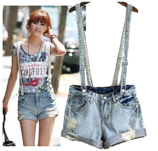 Free Shipping Women's jeans skirt with shoulder-straps