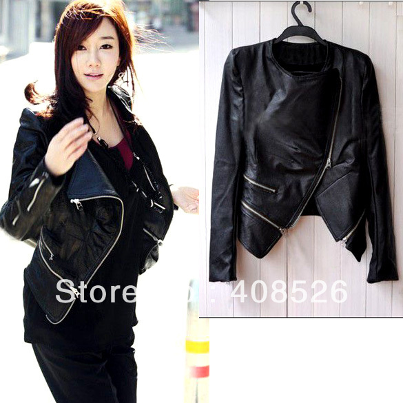 free shipping! Women's Korea Fashion PU Leather Jacket  Zipper Slim Coat Drop Shipping 5860
