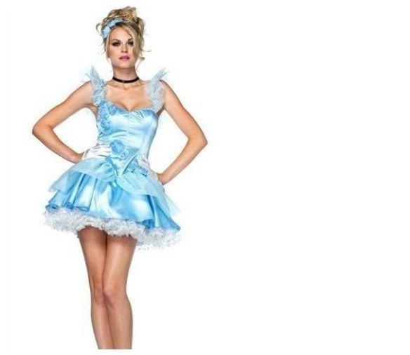 Free Shipping Women's Ladie Sexy Christmas New Year Fancy Maid Lolita Princess Snow White Dress Suit Costume Sky Blue SZ M
