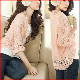 Free shipping  women's plus size cutout sweater ,women's cardigan ,female small cape  shawl ,lady  cotton shrug