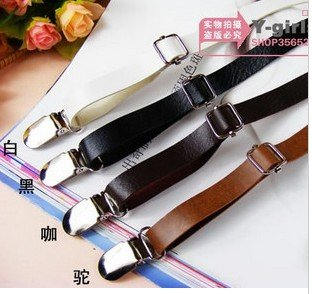Free Shipping Women's PU Leather Clip-on Suspenders,Width 1.3cm,black/red/dk.brown/lt.brown,Wholesale 5pcs/lot